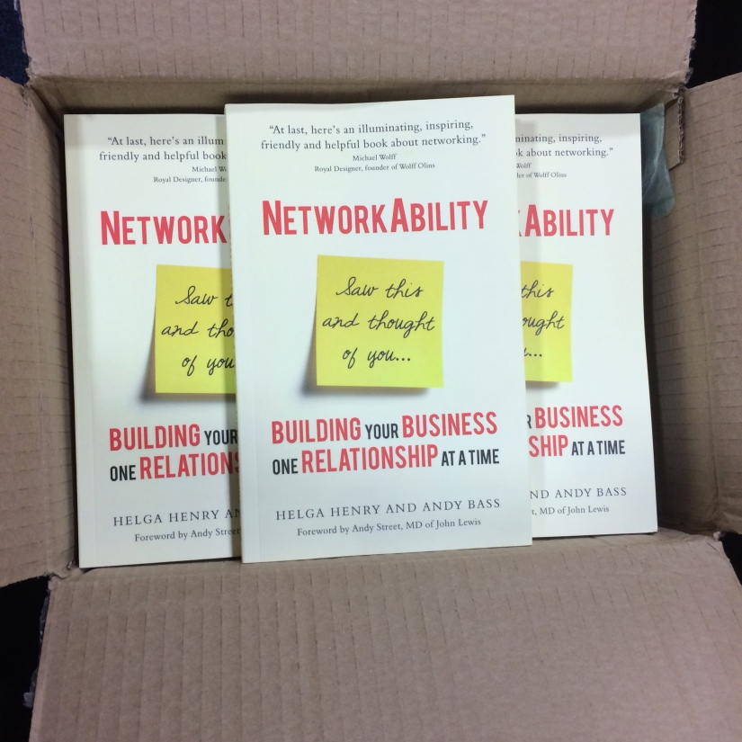 open box full of copies of networkability by helga henry and andy bass